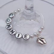 Baby Feet Personalised Wine Glass Charm